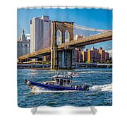 Nypd On East River Shower Curtain