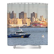 Nypd Patrol Boat In East River Shower Curtain