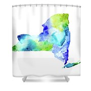 New York State In Blue And Green Shower Curtain