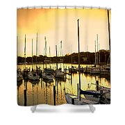 Oak Point Harbor Shower Curtain