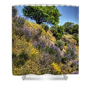 Oak Tree And Wildflowers Shower Curtain