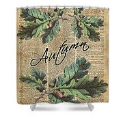 Oak Tree Leaves And Acorns, Autumn Dictionary Art Shower Curtain