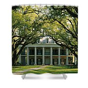 Oak Trees In Front Of A Mansion, Oak Shower Curtain