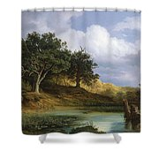 Oaks Beside The Water 1832 By Christian E. B. Morgenstern Shower Curtain