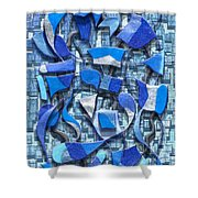 Oars And Rudders - Blue Shower Curtain