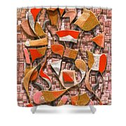 Oars And Rudders -- Orange Shower Curtain