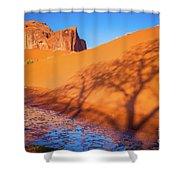Oasis Tree Shadow Shower Curtain