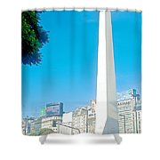 Obelisk On July Nine Avenue In Buenos Aires-argentina Shower Curtain