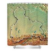 Oberbayern Regierungsbezirk Bayern 3d Render Topographic Map Bor Shower Curtain
