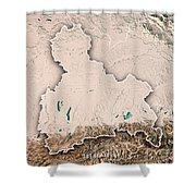 Oberbayern Regierungsbezirk Bayern 3d Render Topographic Map Neu Shower Curtain