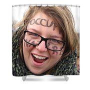 Occupy Nature Face Paint At Political Demonstration Shower Curtain
