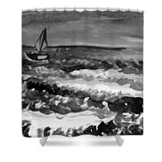 Ocean Back And White Shower Curtain