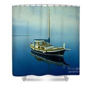 Coastal Wall Art, Ocean Blue, Fishing Boat Paintings Shower Curtain