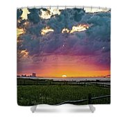 Ocean City Cloudy Sunrise Shower Curtain