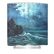 Seascape And Moonlight An Ocean Scene Shower Curtain by Katalin Luczay