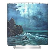 Seascape And Moonlight An Ocean Scene Shower Curtain