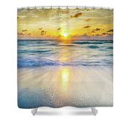 Ocean Reflections At Sunrise Shower Curtain