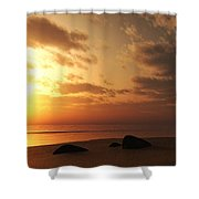 Ocean Side Sunset Shower Curtain