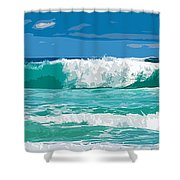 Ocean Surf Illustration Shower Curtain by Phill Petrovic