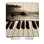 Ocean Washing Over Keyboard Shower Curtain by Garry Gay