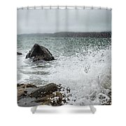 Ocean Water Crashing Againt Rocks With Cloudy Skies Shower Curtain
