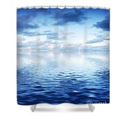 Ocean With Calm Waves Background With Dramatic Sky Shower Curtain