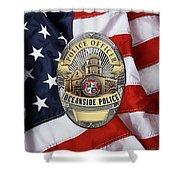 Oceanside Police Department - Opd Officer Badge Over American Flag Shower Curtain