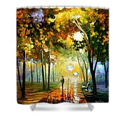 October Reflections - Palette Knife Oil Painting On Canvas By Leonid Afremov Shower Curtain