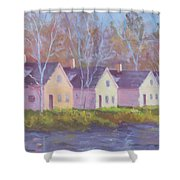 October's Light On Peanut Row Shower Curtain