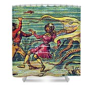 Octopus Attack, 1900s French Postcard Shower Curtain