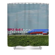 Odd Couple Delta Airlines Southwest Airlines Art Shower Curtain