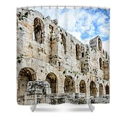 Odeon Stone Wall - Athens Greece Shower Curtain