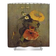 Odilon Redon - Vase With Poppy, Camomile And Bindweed Shower Curtain