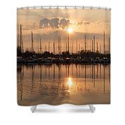 Of Yachts And Cormorants - A Golden Marina Morning Shower Curtain