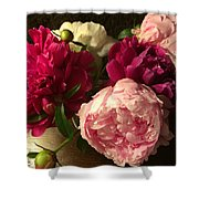 Off Center Peonies Shower Curtain