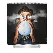 Office Party Nerd Blowing Up Birthday Balloon Shower Curtain