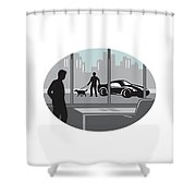 Office Worker Looking Through Window Oval Woodcut Shower Curtain