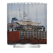 Offloading Cranes Shower Curtain
