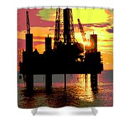 Offshore Drilling Rig Sunset Shower Curtain
