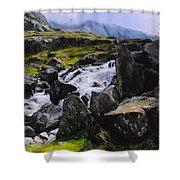 Ogwen Rock Waterfall Shower Curtain