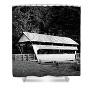 Ohio Covered Bridge In Black And White Shower Curtain