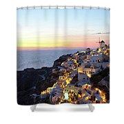 Oia Village In Santorini Island - Greece Shower Curtain