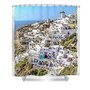 Oia Watercolor Shower Curtain