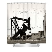 Oil And Birds Shower Curtain