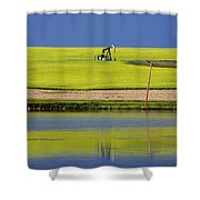 Oil Jack Reflection Saskatchewan Shower Curtain