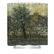 Oil Painting House Tree Shower Curtain