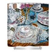 Oil Painting Still Life China Tea Set Shower Curtain