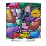 Oil Pastel Abstract Shower Curtain