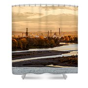 Oil Refinery At Sunset Shower Curtain
