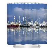 Oil Refinery Industry Plant Shower Curtain